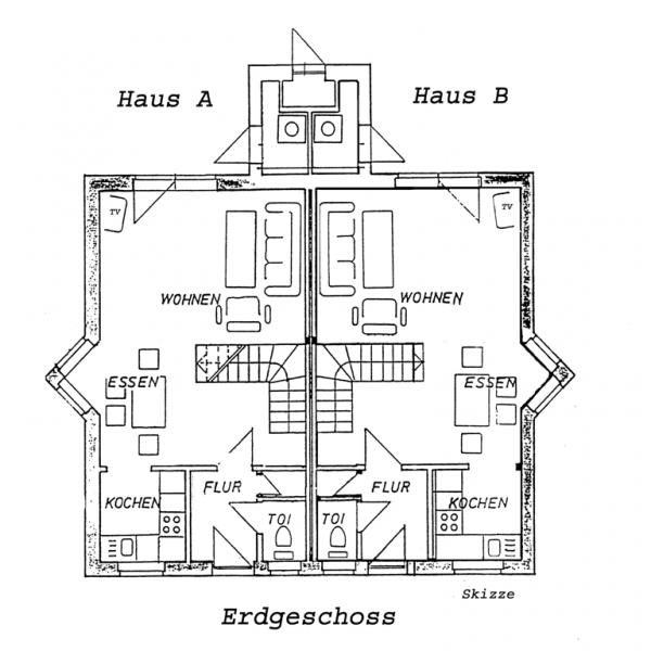 Aufteilung Ferienhaus A und B Erdgeschoss (Skizze)