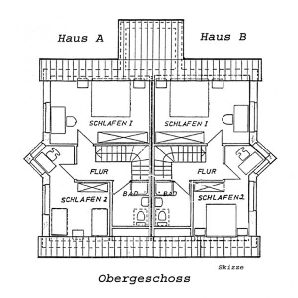 Aufteilung Ferienhaus A und B Obergeschoss (Skizze)